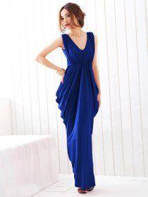 J71456 Stereoscopic Clipping V-neck Noble Maxi Dress ...