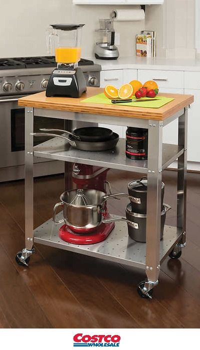 Seville Classics® Stainless Steel Prep Table with Bamboo Top ...