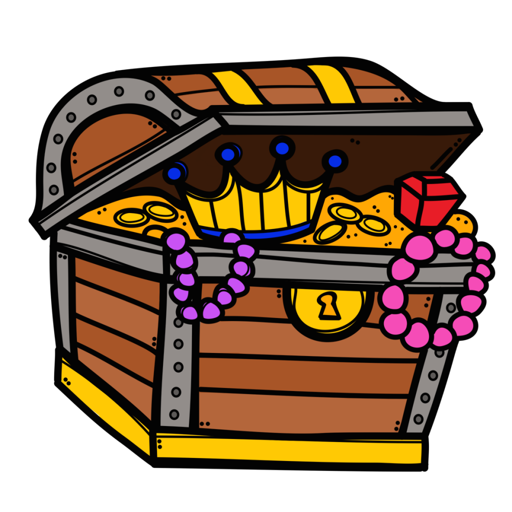 how to draw a open treasure chest