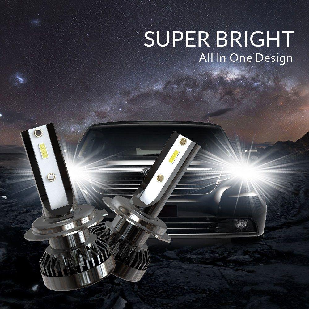 2PCS 8000LM 80W Super Bright Mini LED Light Headlight Bulb