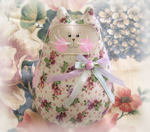 Cat  Doll 6 inch Free Standing Kitty Lavender by CharlotteStyle, $15.50