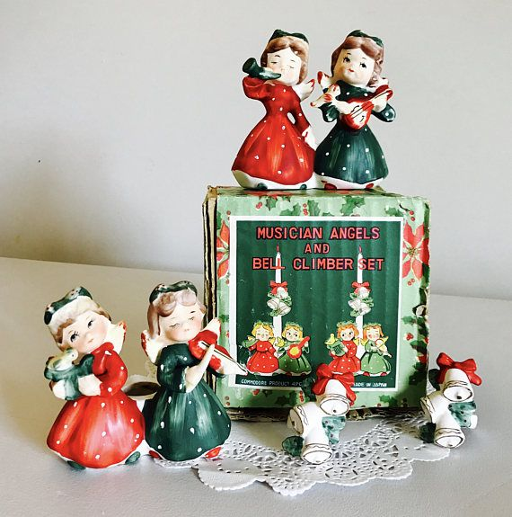 Singing Carolers Candleholders Figurines Vintage By: Vintage Commodore Musical Angels Carolers And