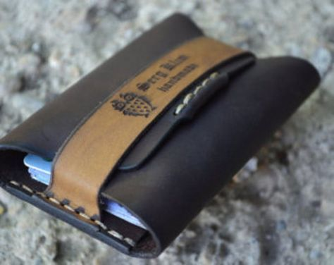 Cuero hombres billetera cartera de cuero tarjeta titular hecha a mano de cuero marrón oscuro