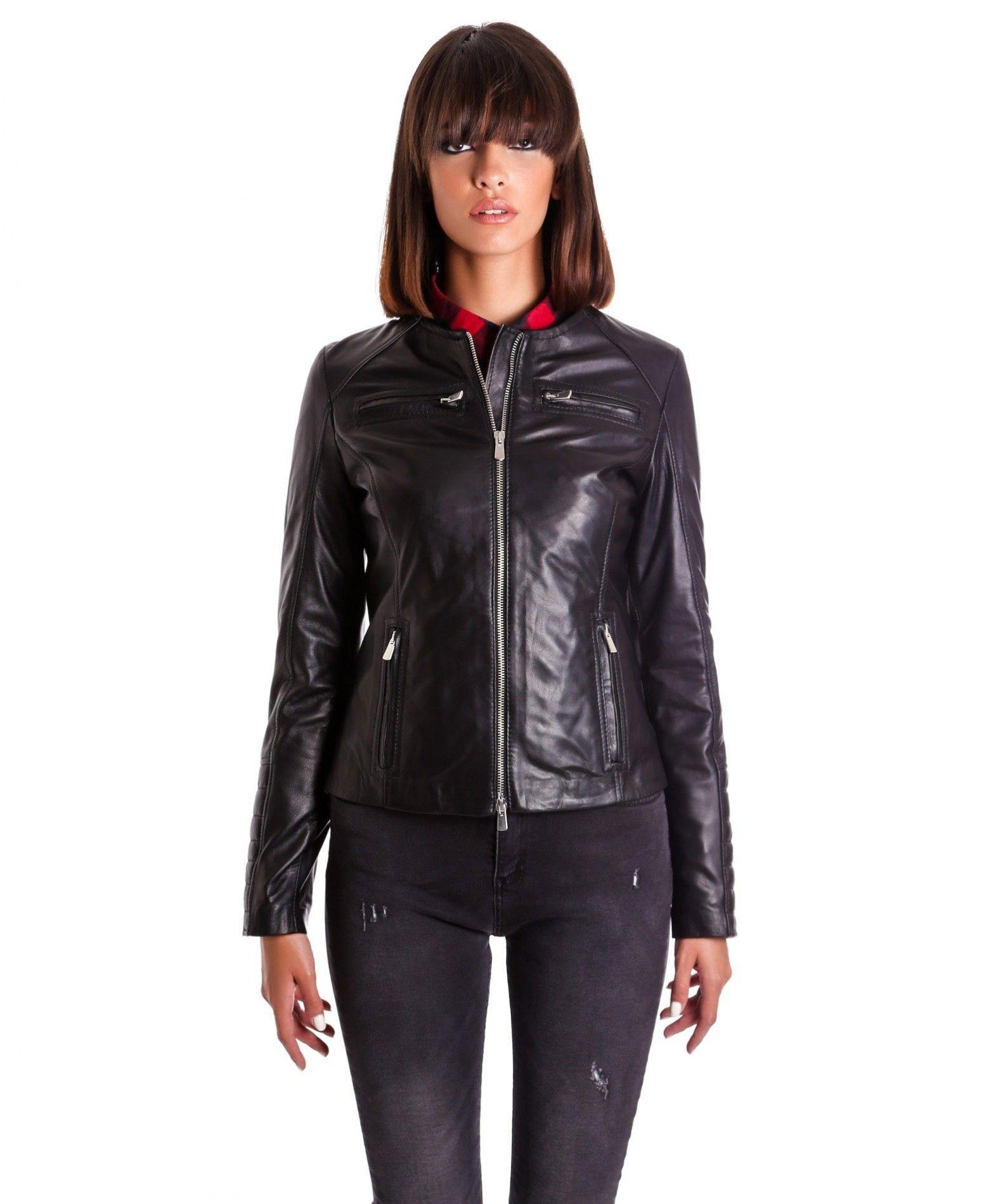 10737840399d67 M890 • colore nero • giacca biker in pelle trapuntata nappa effetto liscio