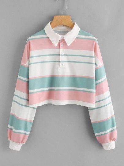 Crop Pullover mit sehr tief angesetzter Schulterpartie und Streifen - German SheIn(Sheinside) #spanishthings