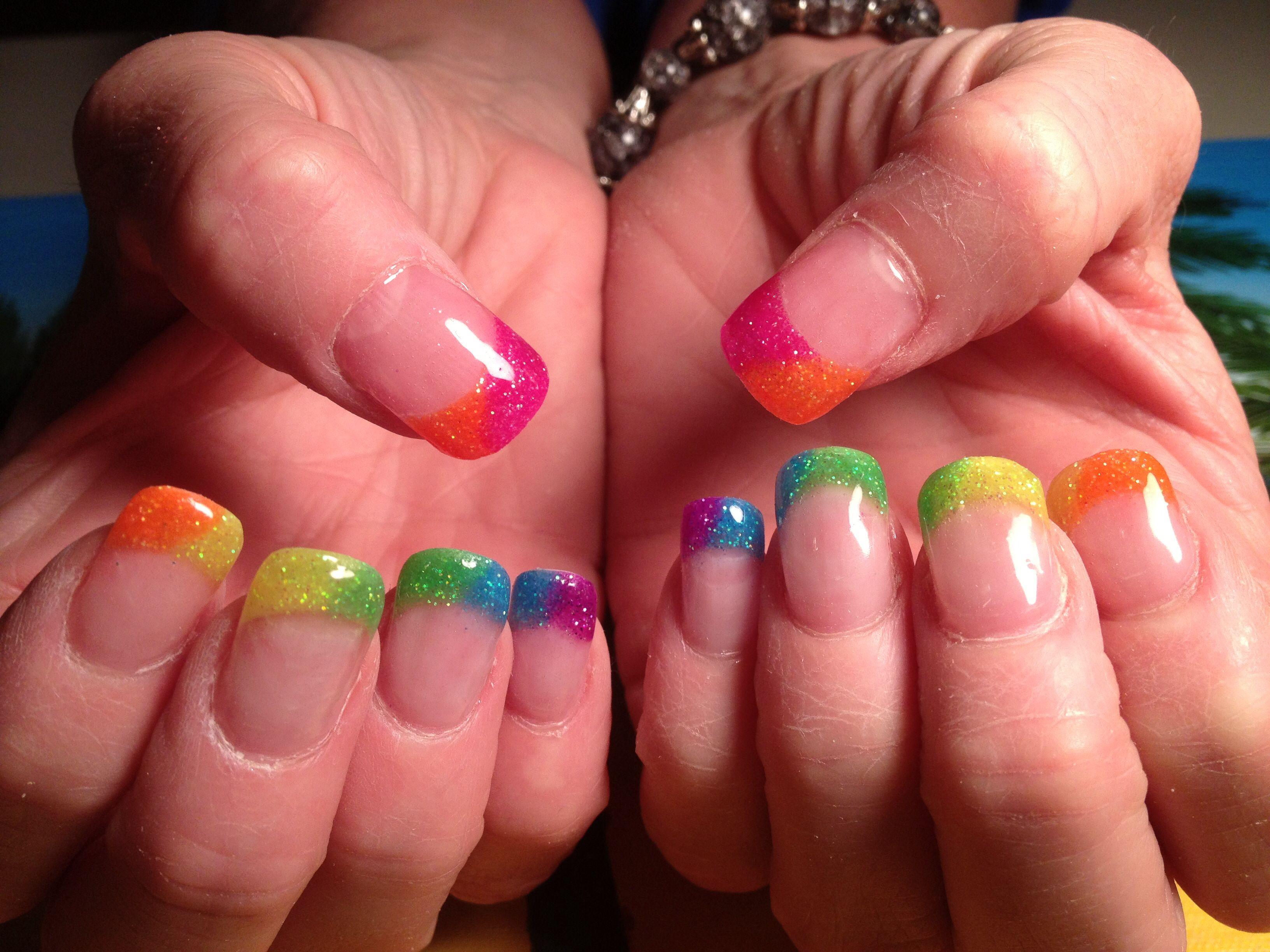 Pink Glitter Acrylic Nails Rainbow Glitter Acrylic Nails