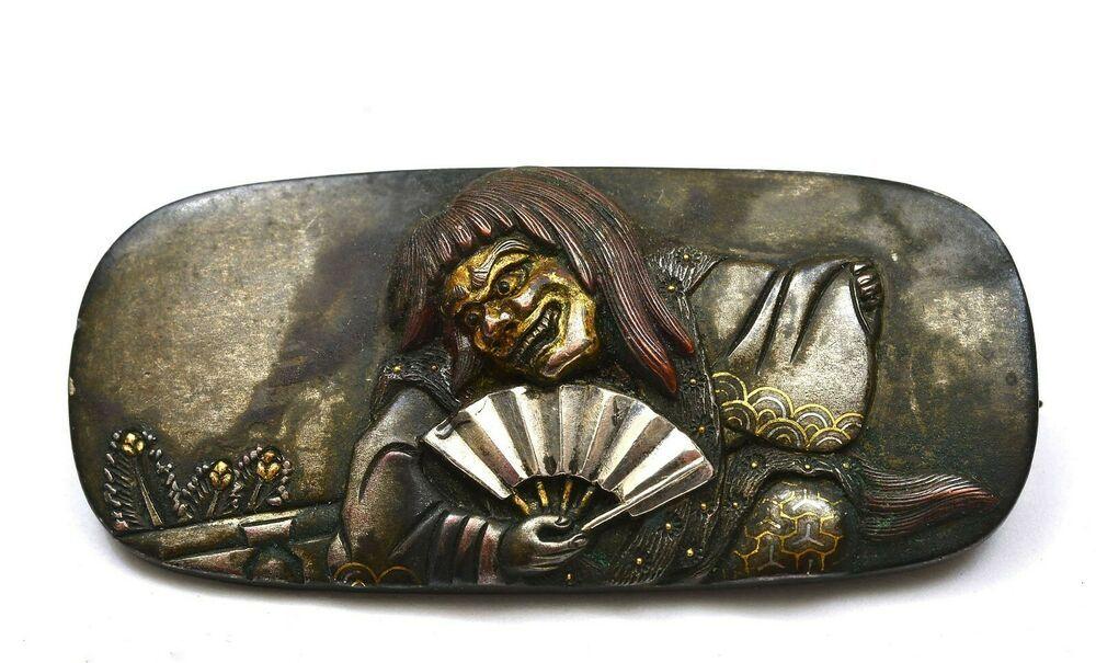 88636fa3d6d 1900's Japanese Mixed Metal Sword Menuki Noh Mask Dancer Figure Pin Brooch