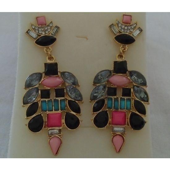 new Modern Drop post earrings, multi shape & color stones