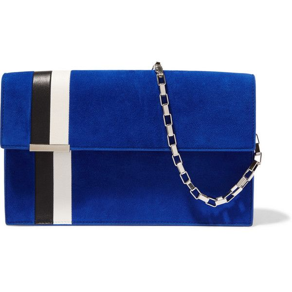 Tomasini Miura suede and leather shoulder bag ($1,070) ❤ liked on Polyvore featuring bags, handbags, shoulder bags, clutches, purses, cobalt blue, leather hand bags, man bag, blue suede handbag and leather handbags