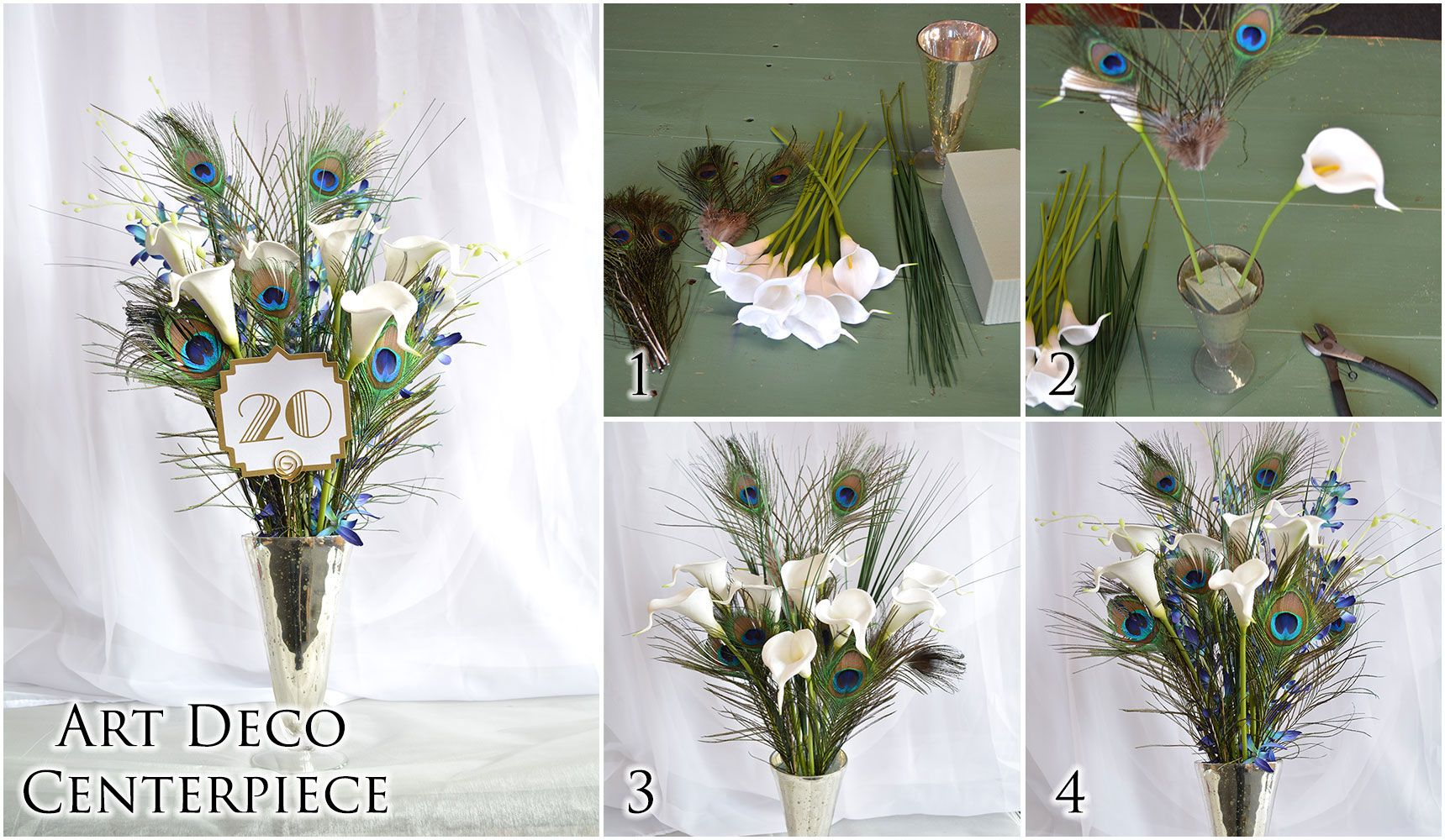DIY Art Deco wedding centerpiece || Combine calla lilies and ...