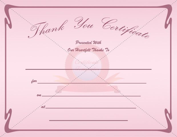 Thank You Certificate  Thank You Certificate Templates