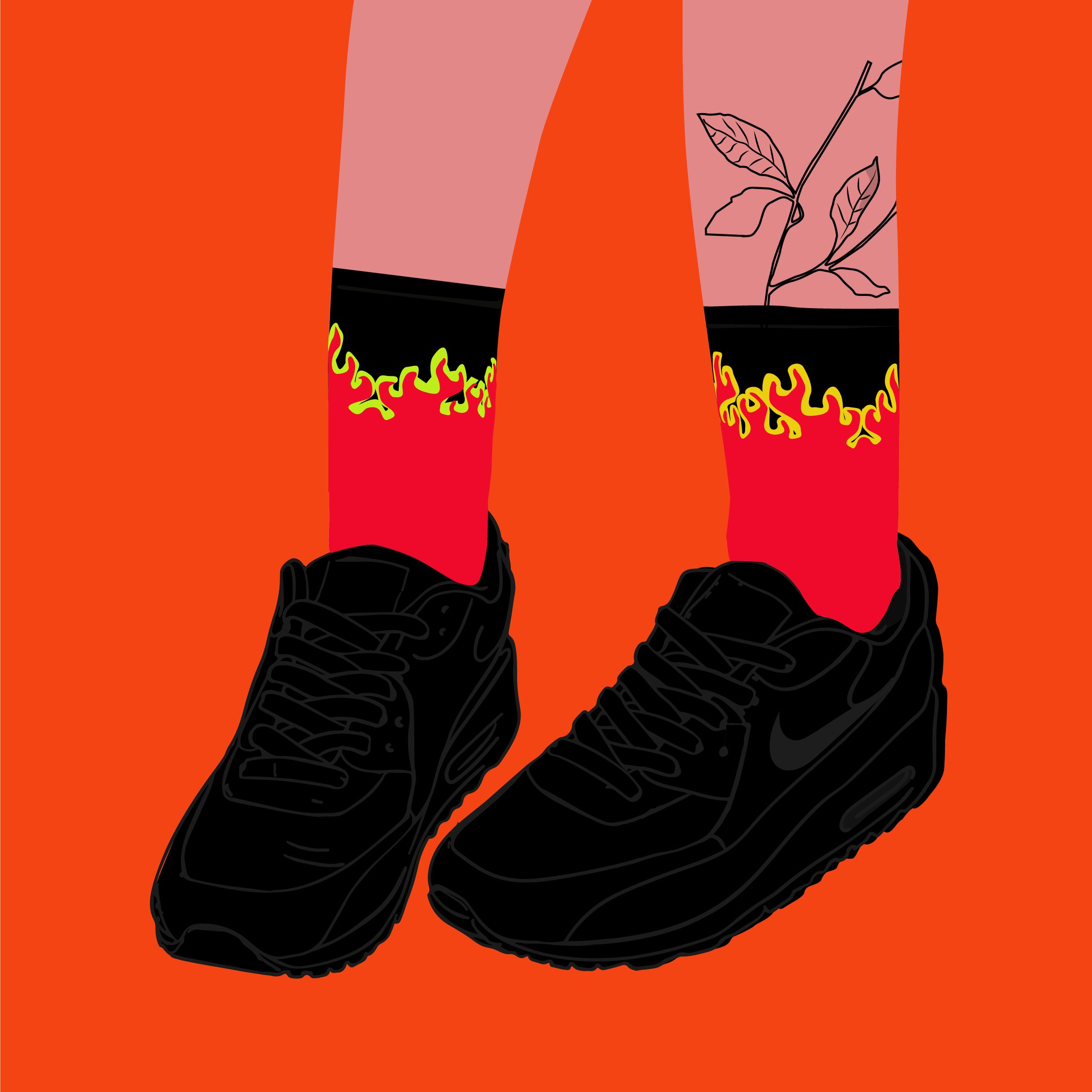 fire stockings with nike sneakers en 2020 Ilustración