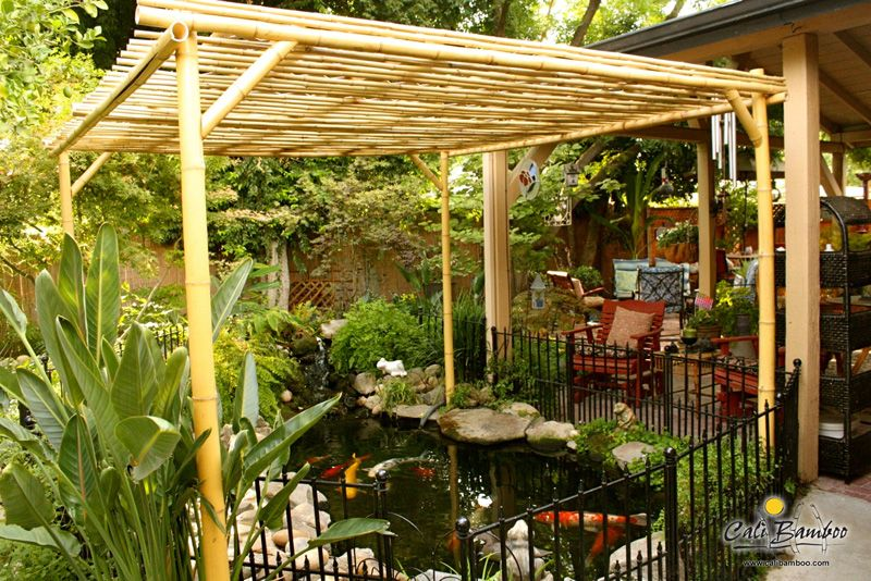 Beautiful Backyard Pergola Made With Cali Bamboo Poles Pergola