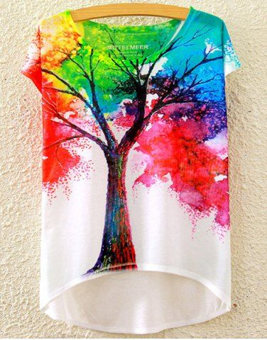 Stylish Scoop Neck Colorful Tree Print High Low Short Sleeve T-Shirt For Women