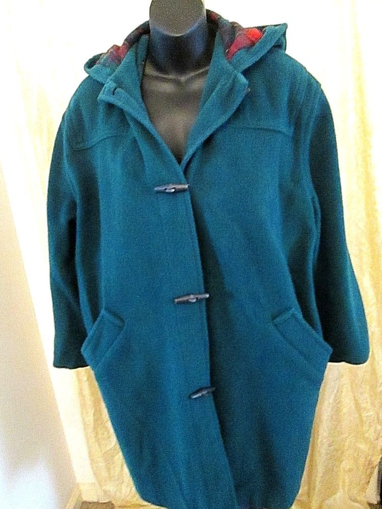 7cb3ba1cfe90 Womens Wool Coat LL BEAN Vtg USA Made Wool Winter Toggle Duffle Coat ...
