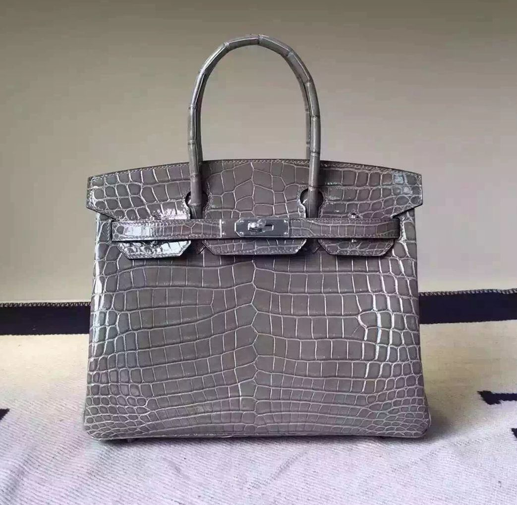 e0977bf0658b Hermes Birkin 30 35 Imported Crocodile Leather Bag Dark Gray(SHW ...