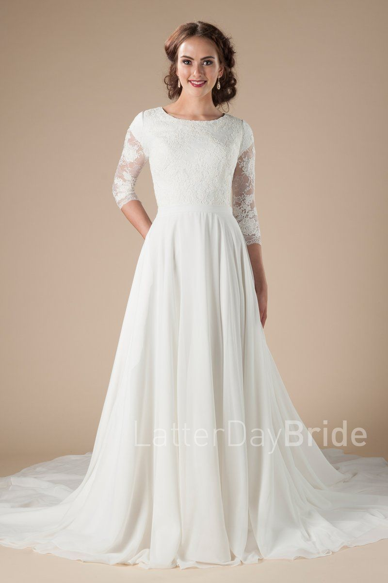 a889cd13a83a lace, long sleeves affordable modest wedding dress at LatterDayBride