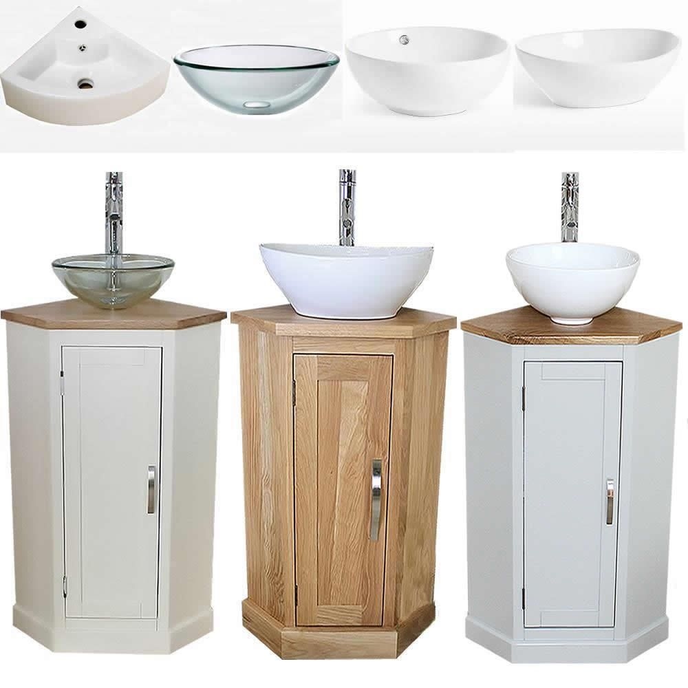 Bathroom Vanity Corner Unit Oak Sink Cabinet Ceramic Basin Tap