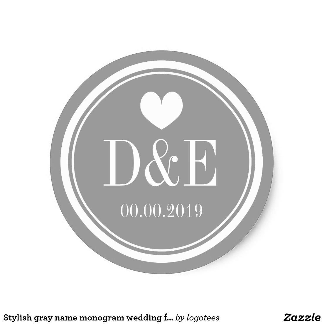 Stylish gray name monogram wedding favor stickers   wedding favor ...