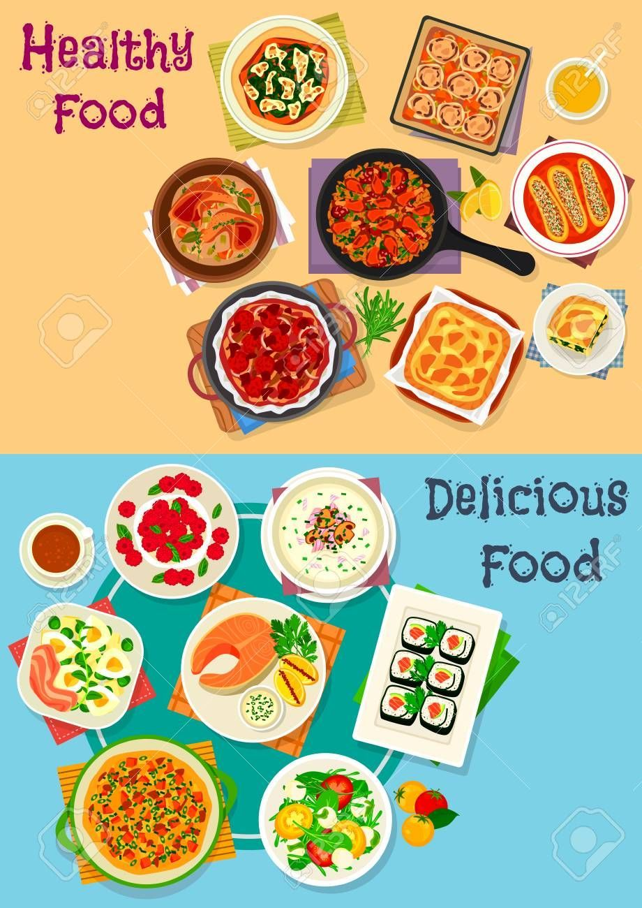 Healthy food icon set of vegetable salad with cheese, egg and ham, chicken and vegetable pies, sush