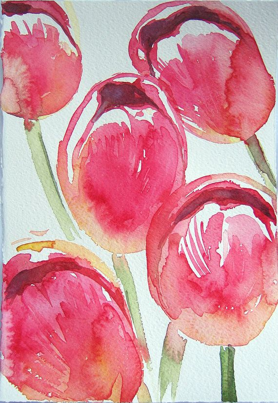 Watercolor Painting Pink Tulips In Watercolor Art Original Only