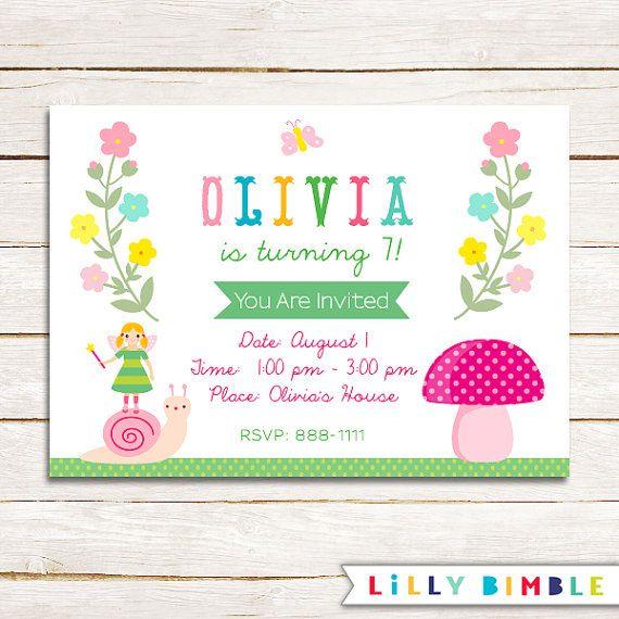 Magical Garden Birthday Party Invitation fairy by LillyBimble – Garden Birthday Party Invitations