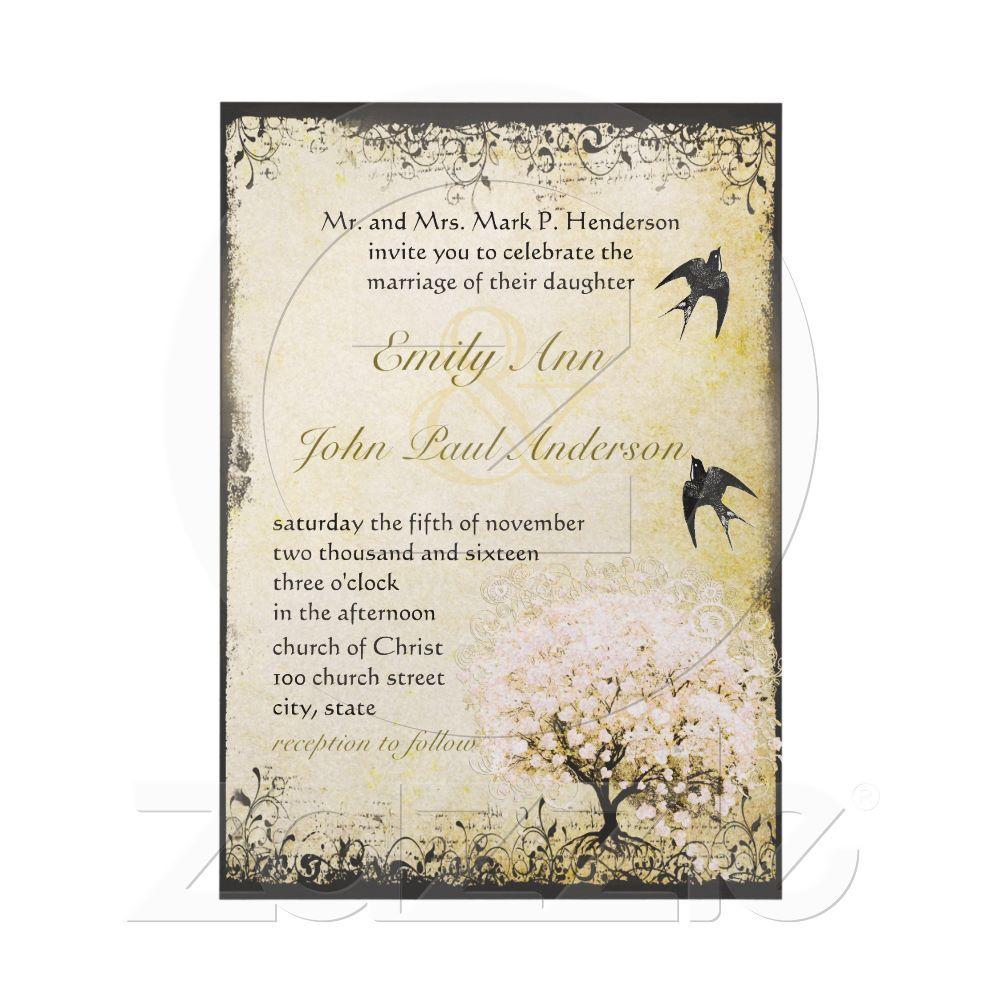Romantic Heart Leaf Pink Tree Love Bird Wedding Card | Trees ...