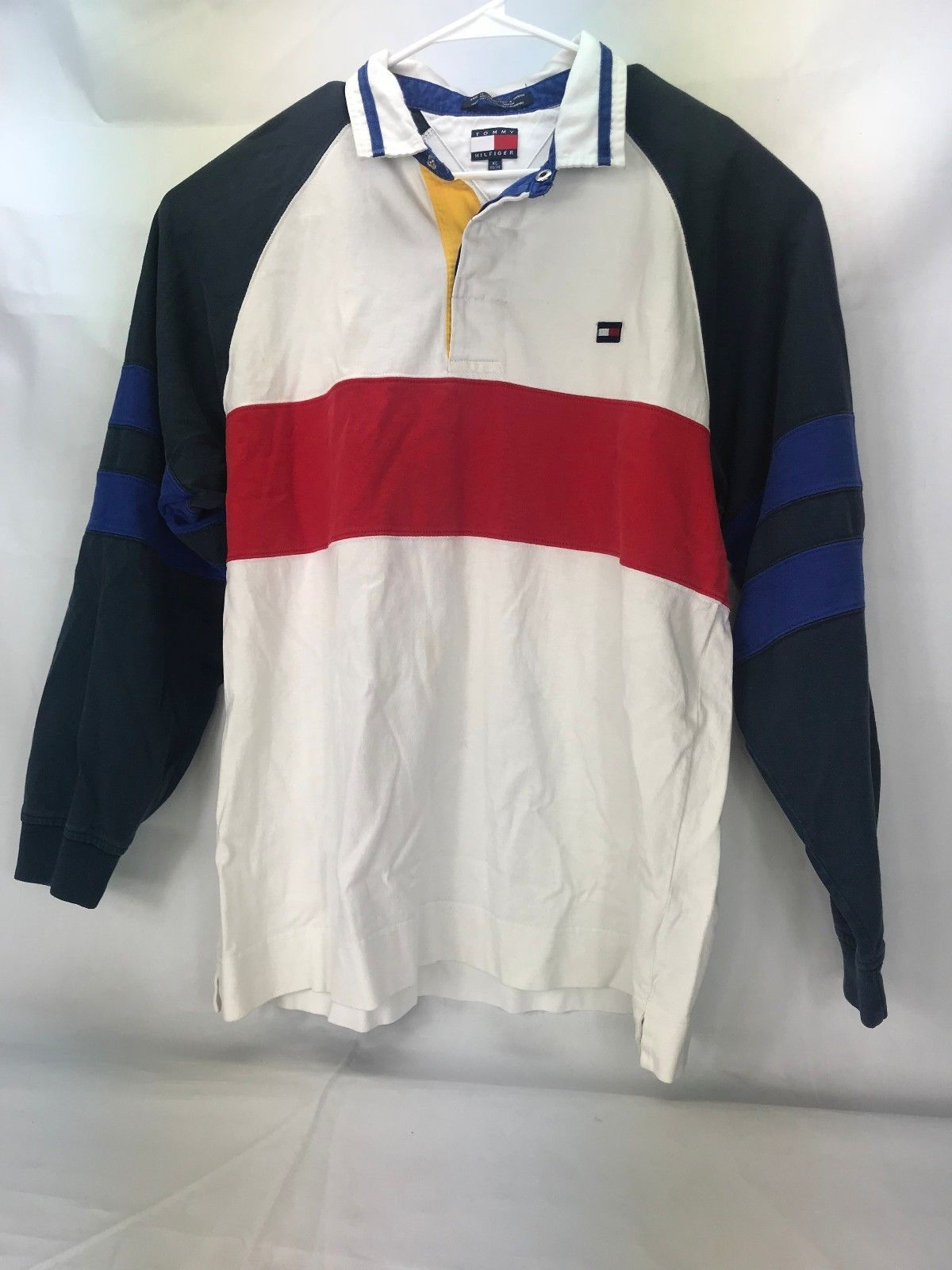 4e06e28dde3 Tommy Hilfiger Mens XL Long Sleeve Polo Shirt Red White Blue Striped with  Logo | eBay