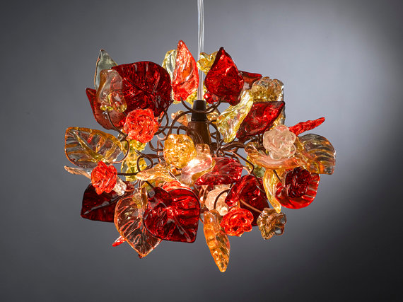 Ceiling light fixture, red flowers light with warm shades of flowers ...