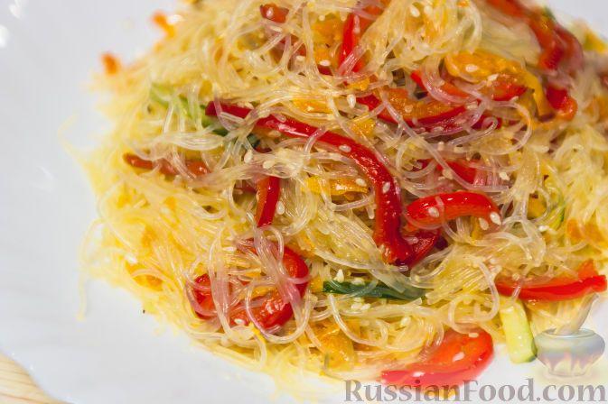 """Рецепт Салат """"Фунчоза с овощами"""", cостав: лапша фунчоза ..."""