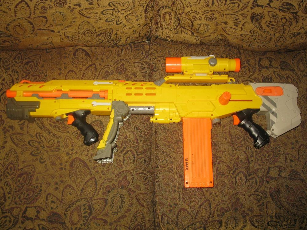 Image is loading NERF-Longshot-CS-6-Orange-Yellow-Dart-Gun-