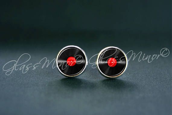 Red Vinyl Record Earrings, Tiny LP Stud Earrings, Retro Jewelry, Musician Post Earrings