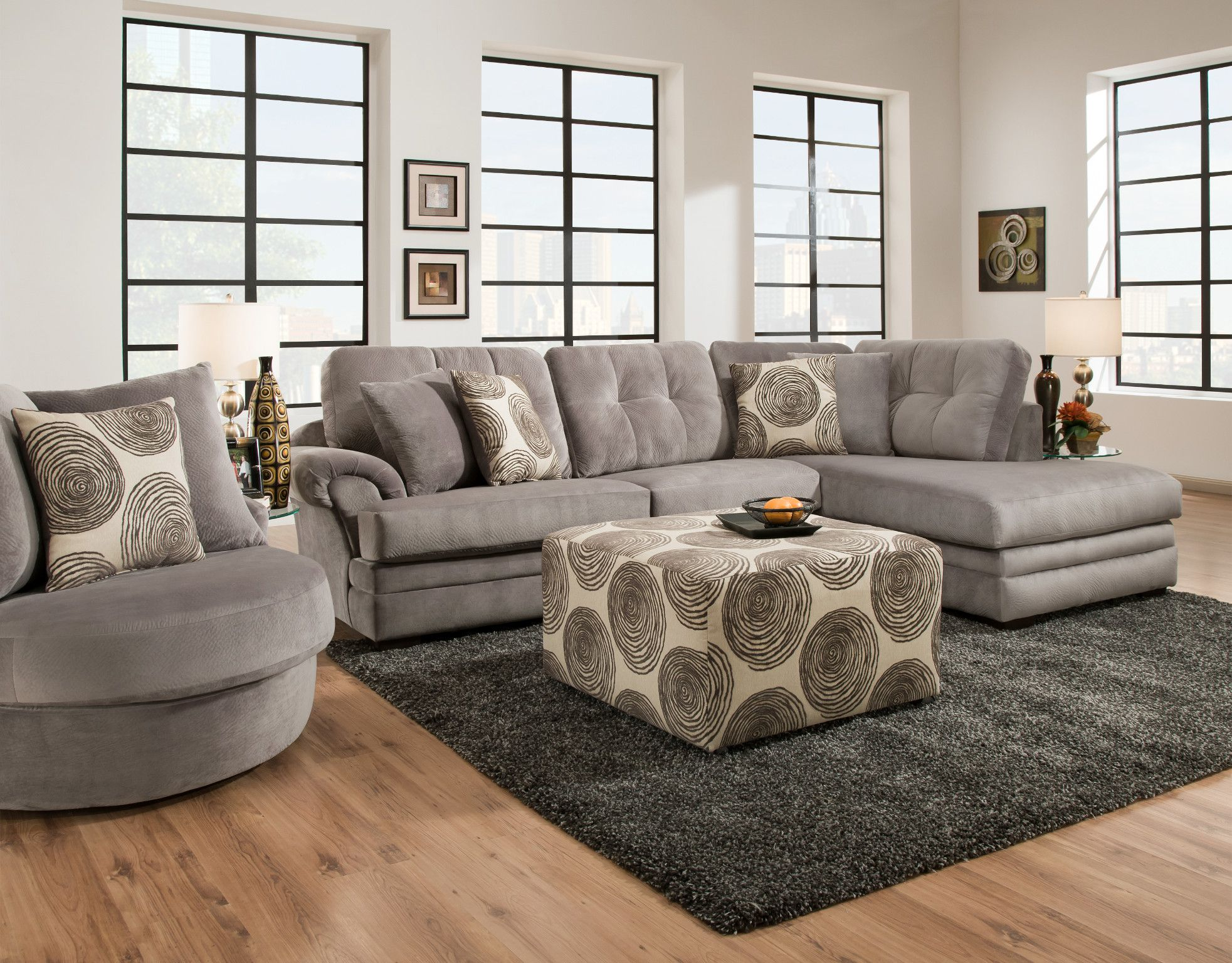 Knockout 2 Piece Sectional In Knockout Grey 16b3lf Left Facing Sofa L84 D Comfortable Living Room Furniture Living Room Sectional Sectional Sofa With Chaise
