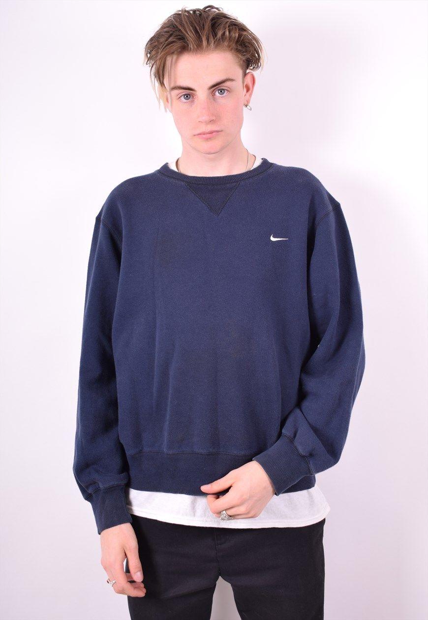 Nike Mens Vintage Sweatshirt Jumper Large Navy Blue 90 S Messina Hembry Clothing Asos Marketplace Long Sleeve Tshirt Men Sweatshirts Mens Sweatshirts