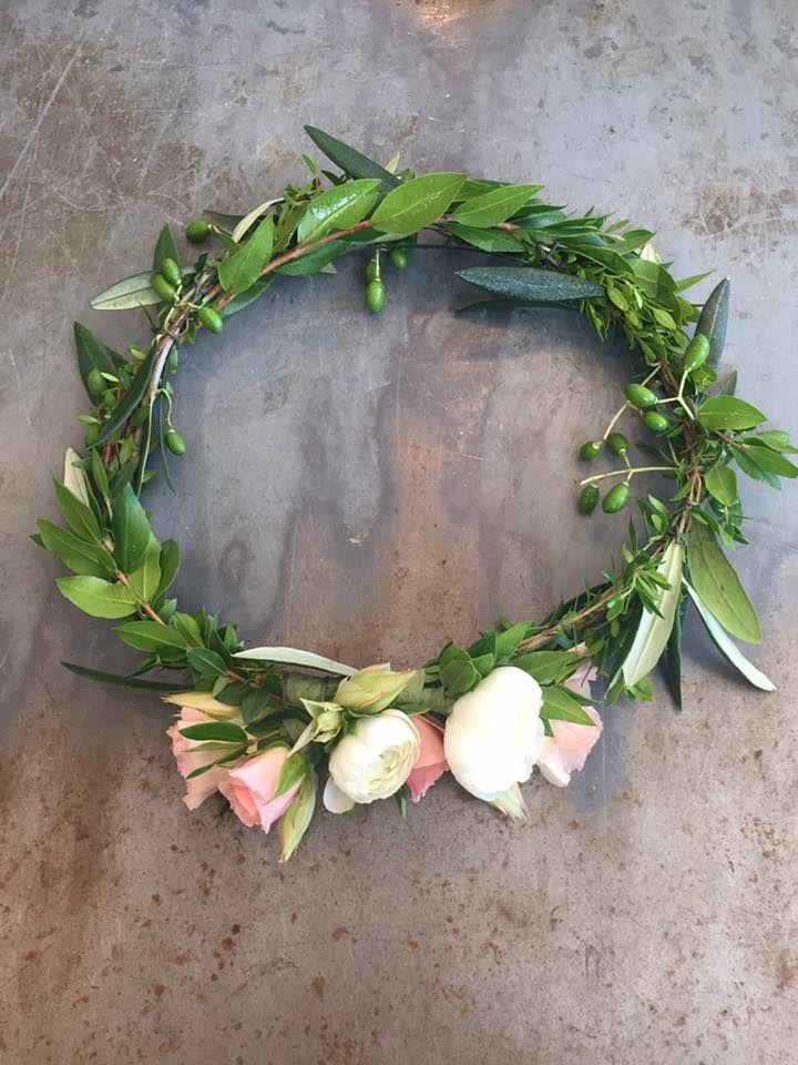 Blush and cream flower crown.  utahflorist  utahweddings  flowercrown   roses  ranuculus  myrtle  olivebranch 442fa65d490
