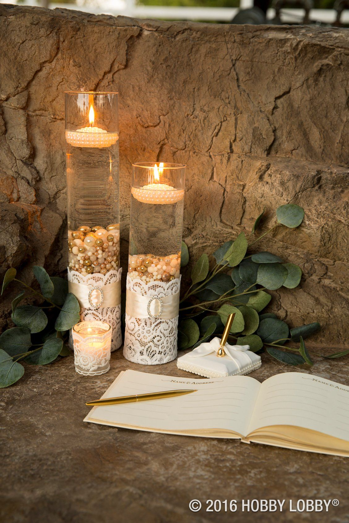 Keep the guestbook table softly lit with pearl beads and floating
