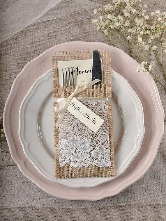 Custom Listing 10 Lace Silverware Holders Rustic Burlap Wedding Menu Table Set Cart