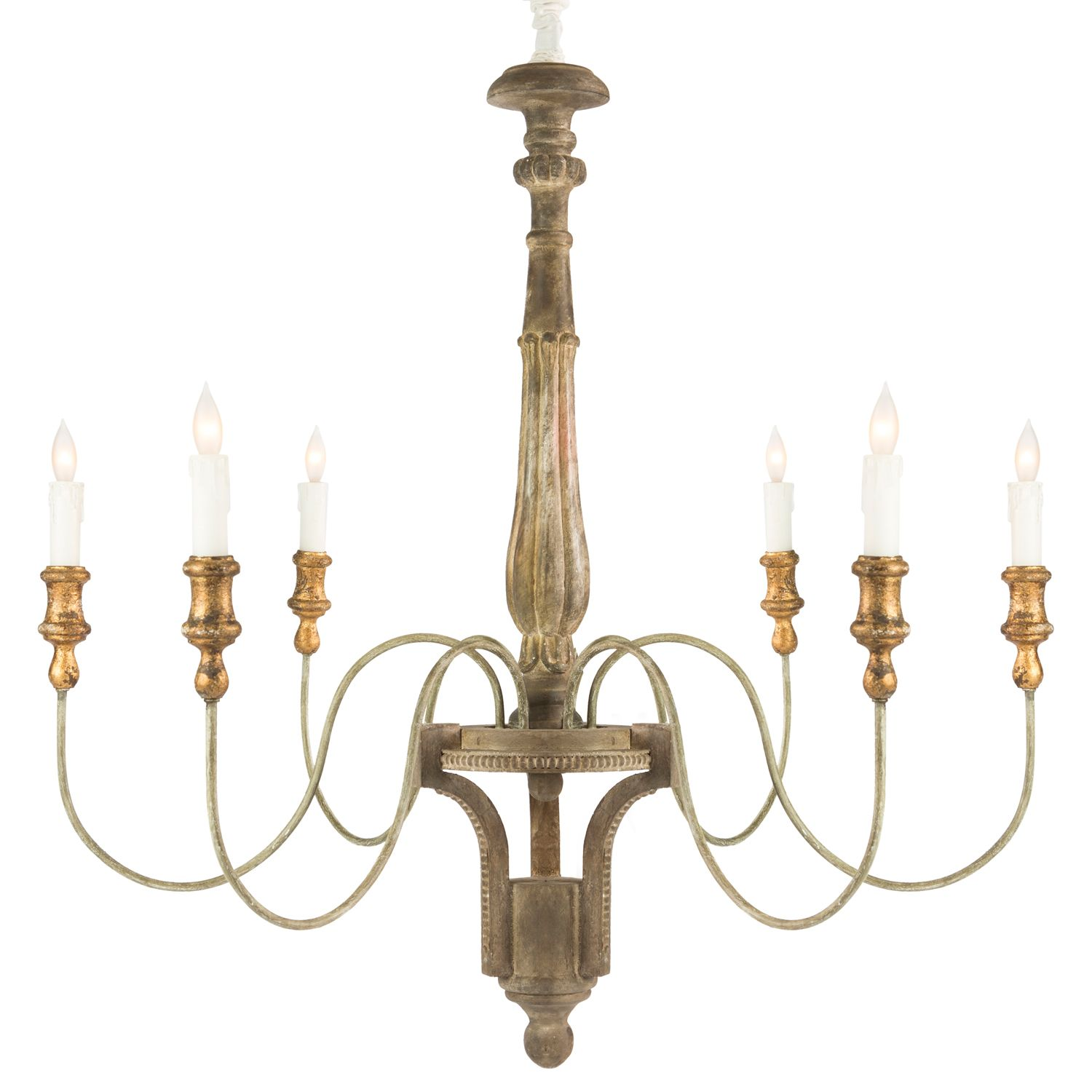 The Aidan Gray Molines chandelier delivers rustic elegance to a