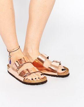 Birkenstock Arizona Metallic Copper Slider Flat Sandals  75eba43f247