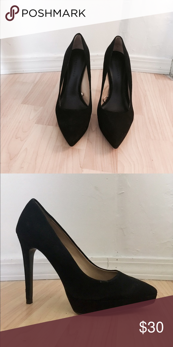 dc8c0d9c0276 Zara suede pumps Gorgeous black suede heels with pointed-toe and slight  platform. Heel about 4 in. Barely worn- in new condition. Zara Shoes Heels