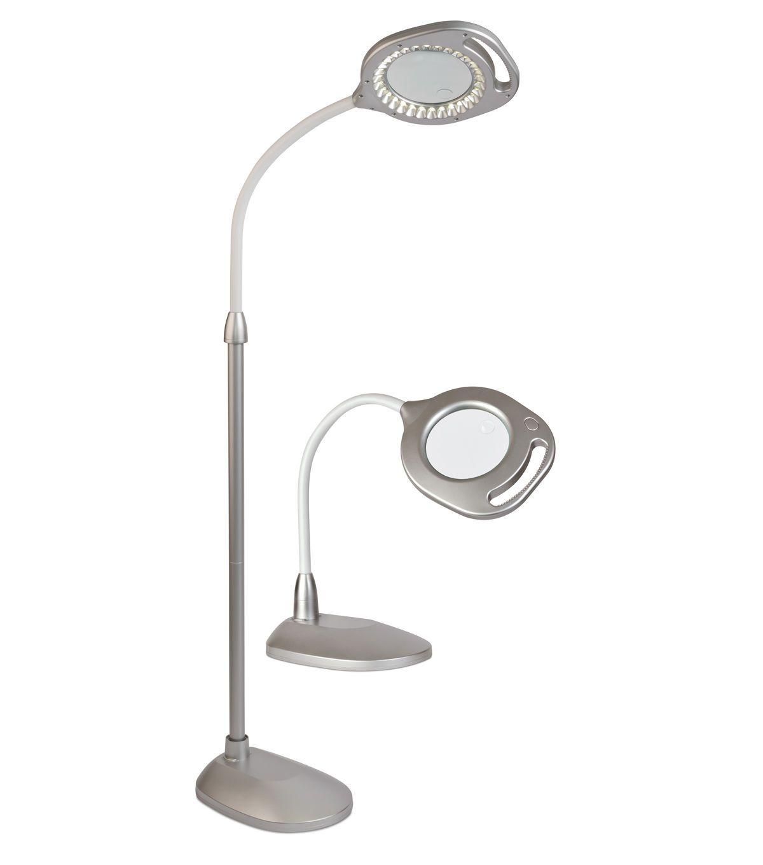 Ottlite 2 In 1 Led Magnifier Floor Table Lamp Silver Magnifying Desk Lamp Led Desk Lamp Table Lamp