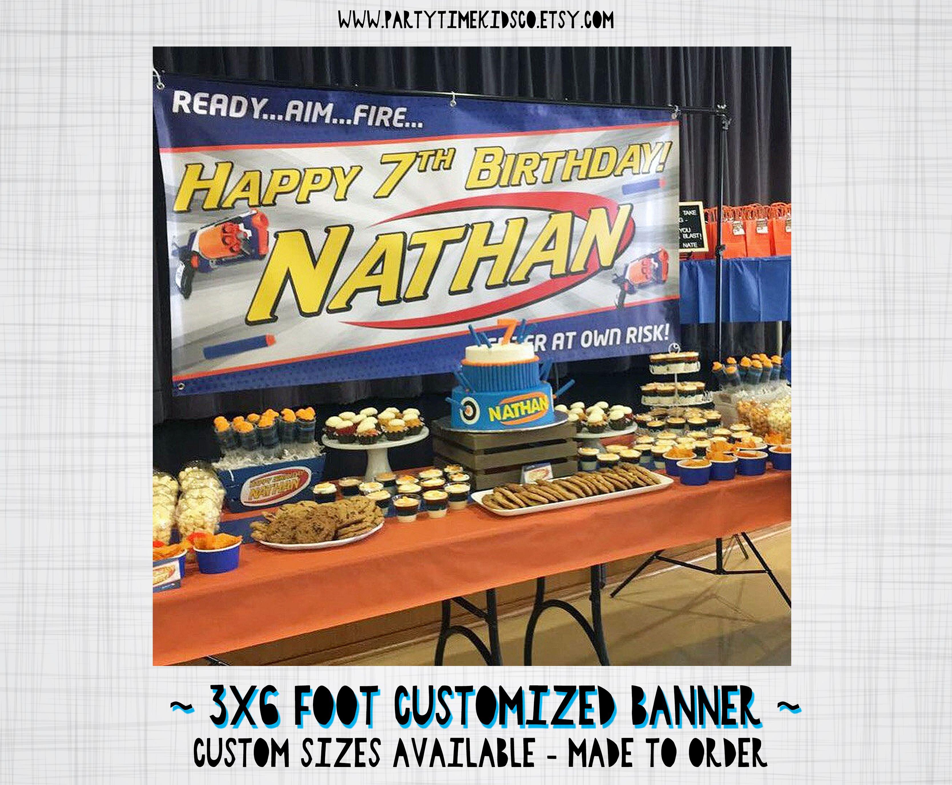 Nerf Party Vinyl Banner  Large Nerf Birthday Sign - custom