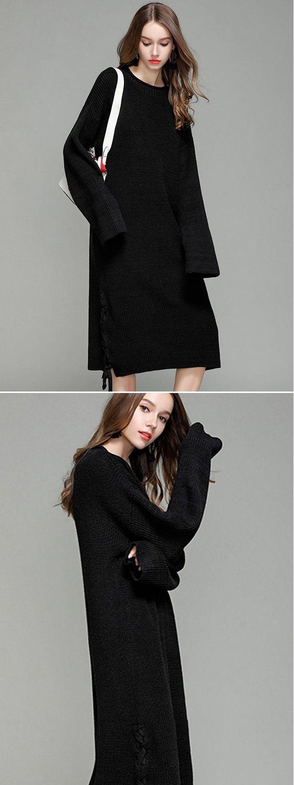 bb0ac55e627 Vinfemass Solid Color Lace Up Loose Sweater Dress  vinfemass  women   fashion  vintage