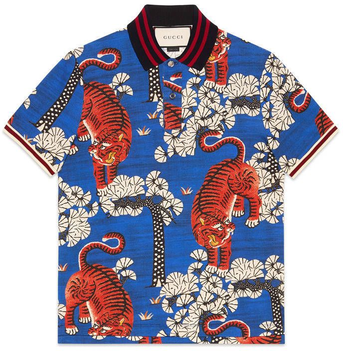 60c1757d11 Gucci Bengal print polo | Designer Polo Shrt in 2019 | Gucci shirts ...