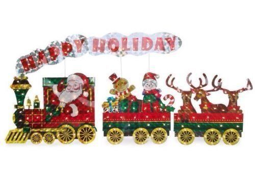 Light Up Holographic Santa Train 3 Piece Set Outdoor Christmas