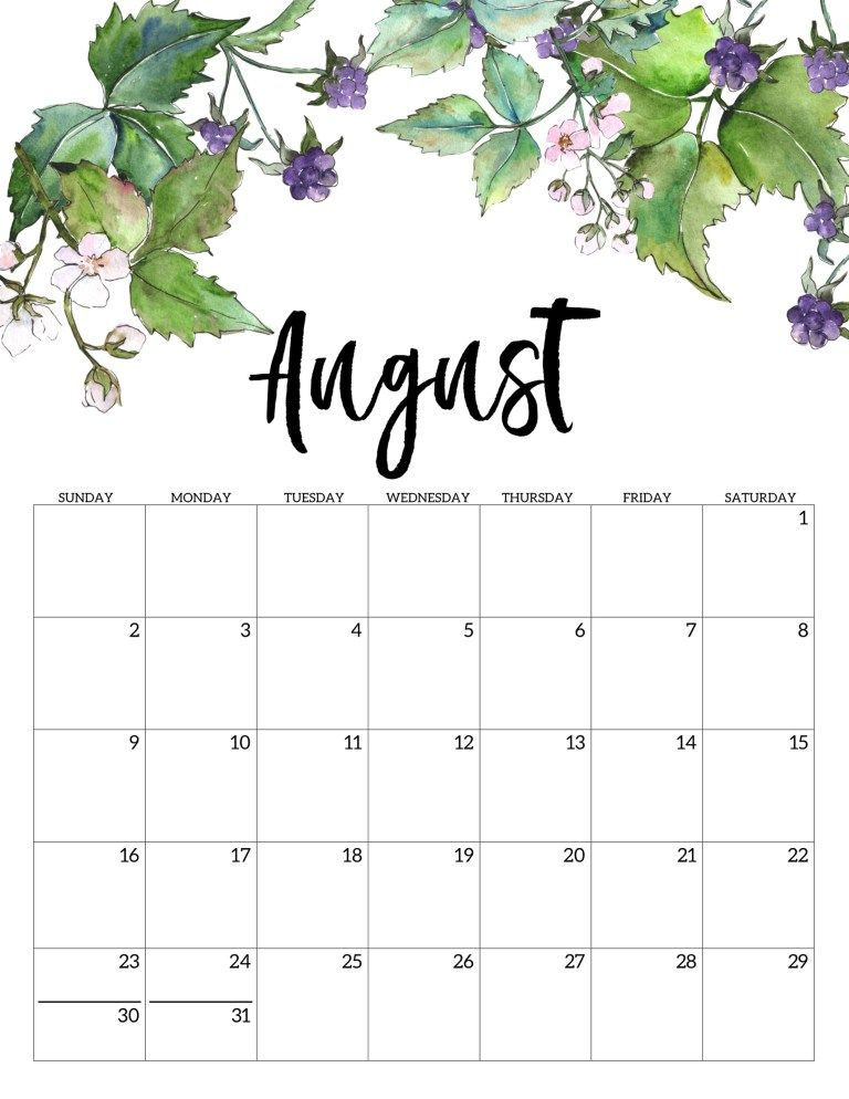 Free Printable August 2020 Calendar.2020 Free Printable Calendar Floral Free Printable