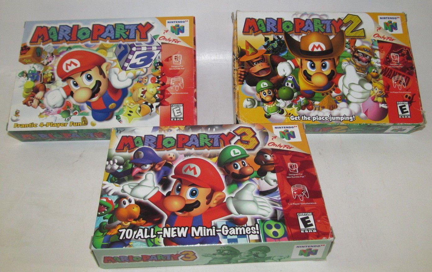 Mario Party 1, 2, & 3 (Nintendo 64, 2001) Complete CIB