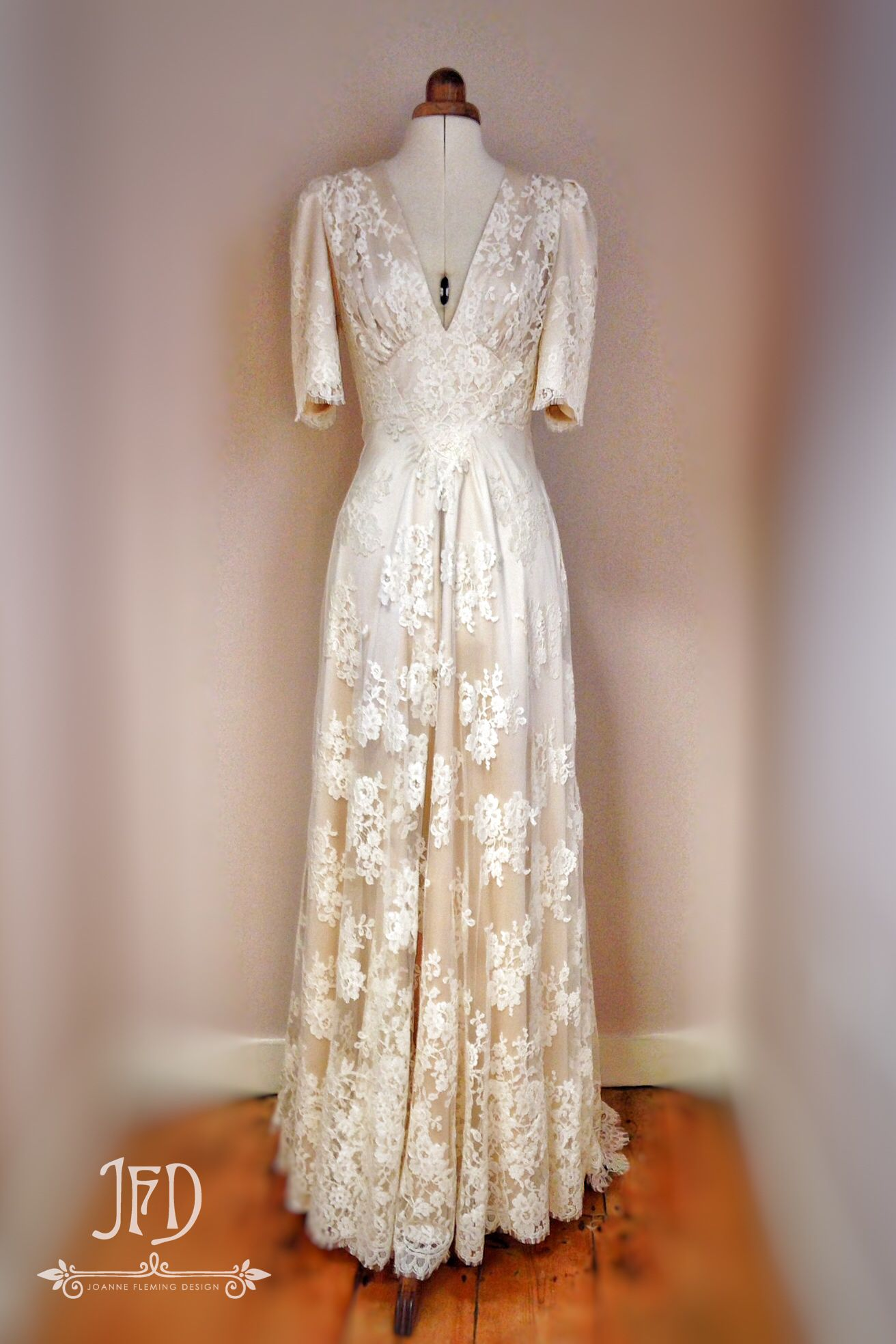 18s inspired bridal gown in French lace and oyster silk by ...
