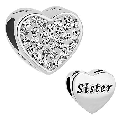 Uniqueen Mothers Day Crystal Charm Heart Mom Beads fit Bracelet XonPk