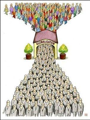 B2 C1 Que Ves En La Imagen Que Es La Globalizacion Que Aspectos Positivos Y Negativos Tiene Ilustracion Satirica Globalizacion Caricatura Social